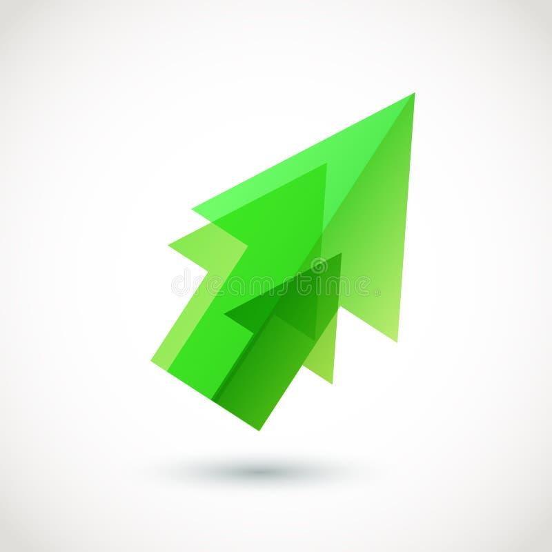 Freccia verde astratta immagini stock