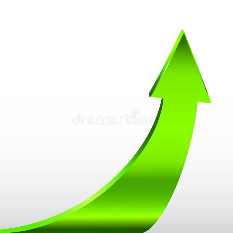 Freccia verde e fondo bianco neutrale illustrazione vettoriale
