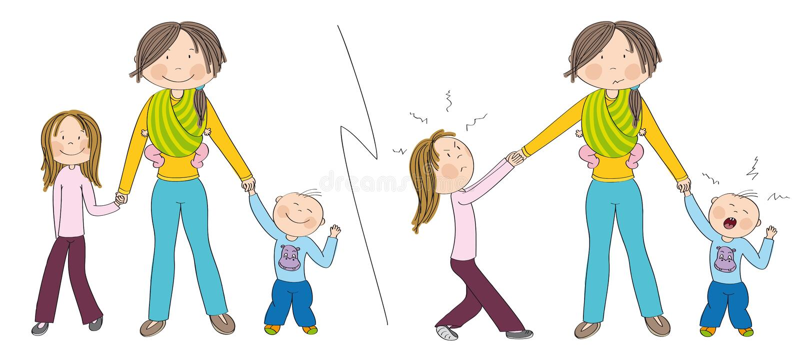 Freche Kindergeschwister gegen Gute Kinder stock abbildung