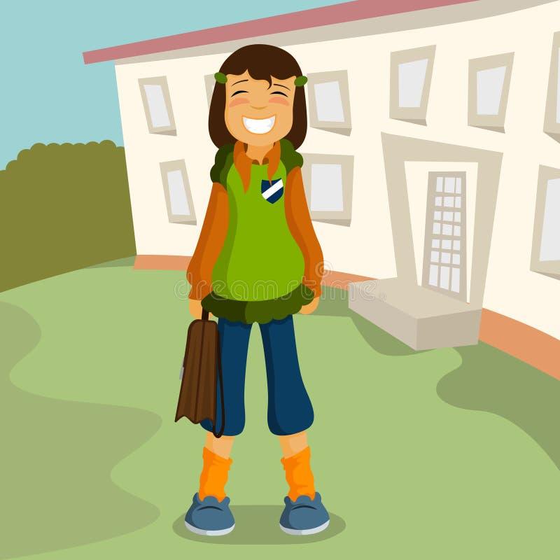 Freches Schulemädchen lizenzfreie abbildung