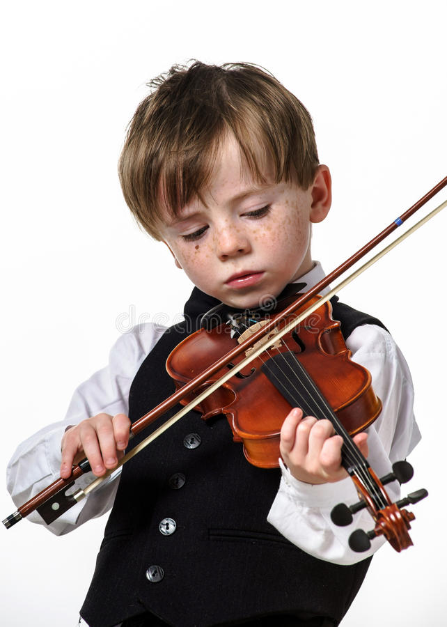 Free Freckled Red-hair Boy Playing Violin. Royalty Free Stock Photo - 32294995