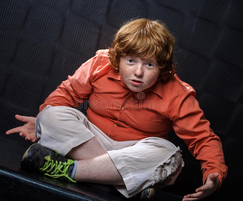 Download Freckled Red-hair Boy Posing On Dark Background. Stock Image - Image of emotional, child: 32295095