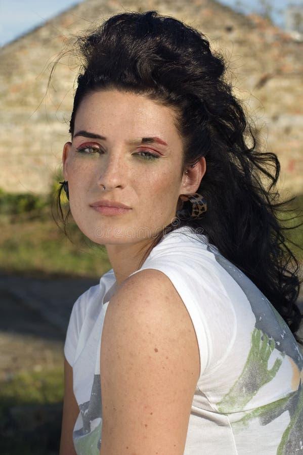 Freckled vrouw stock afbeeldingen
