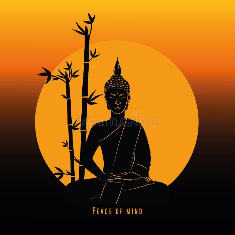 Fred av den meningsbuddha meditationen på solnedgången vektor illustrationer