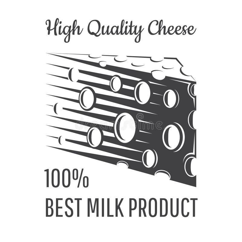 Fred av ost med hål Logo för mejerilagret, plats stock illustrationer