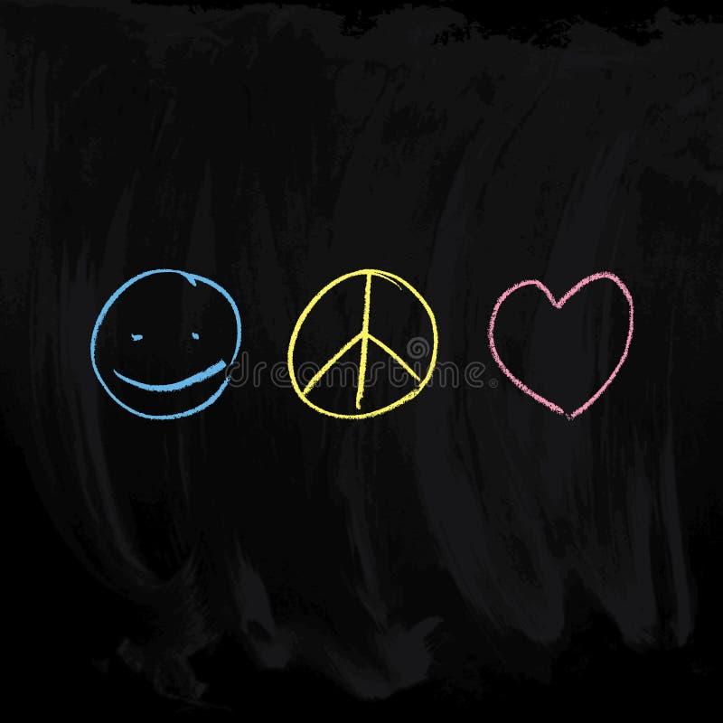 Fred- & förälskelsesymboler royaltyfri illustrationer