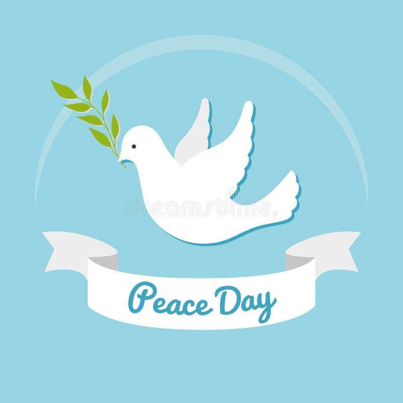 fred för international för dagduvajordklot Duva av fred med den olivgröna filialen på blå bakgrund Vykort, affisch eller rengörin royaltyfri illustrationer