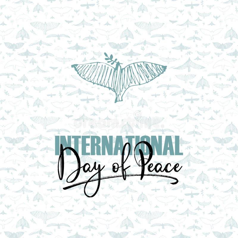 fred för international för dagduvajordklot Dykt och för hand skriftlig text på modell med fåglar Vektorillustration, designbestån stock illustrationer