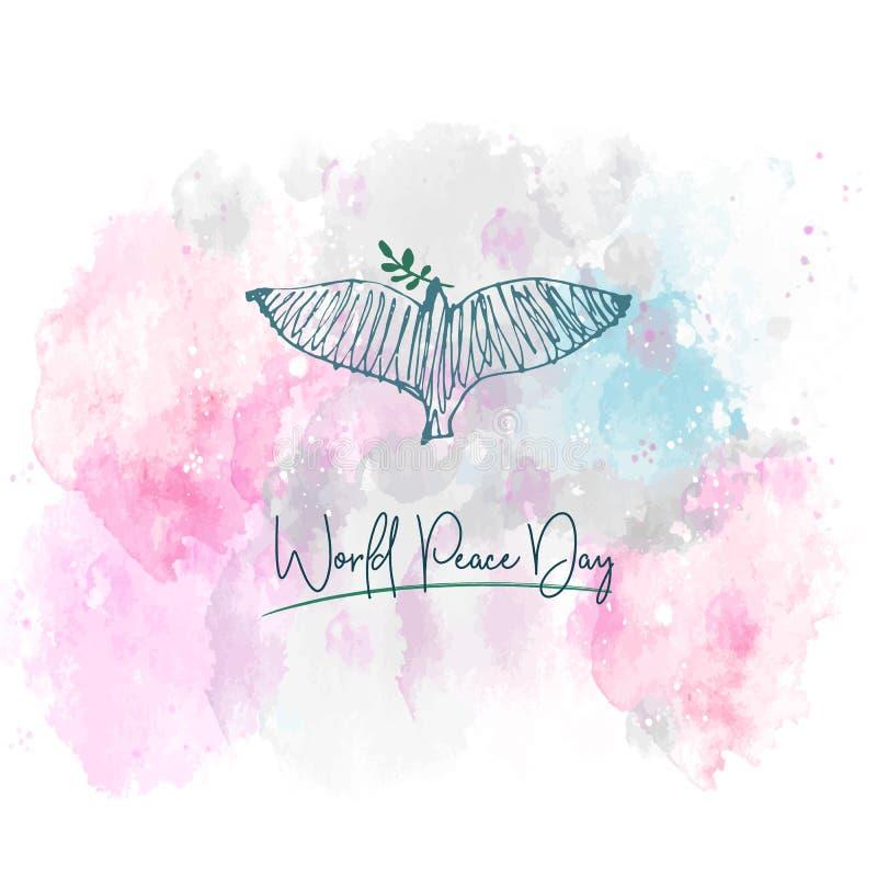 fred för international för dagduvajordklot Dykt och för hand skriftlig text på vattenfärgbakgrund Vektorillustration, designbestå royaltyfri illustrationer