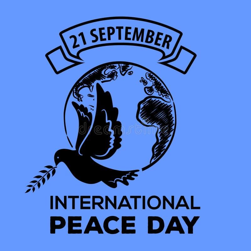 fred för international för dagduvajordklot Hälsningkort, emblem eller baner vektor illustrationer