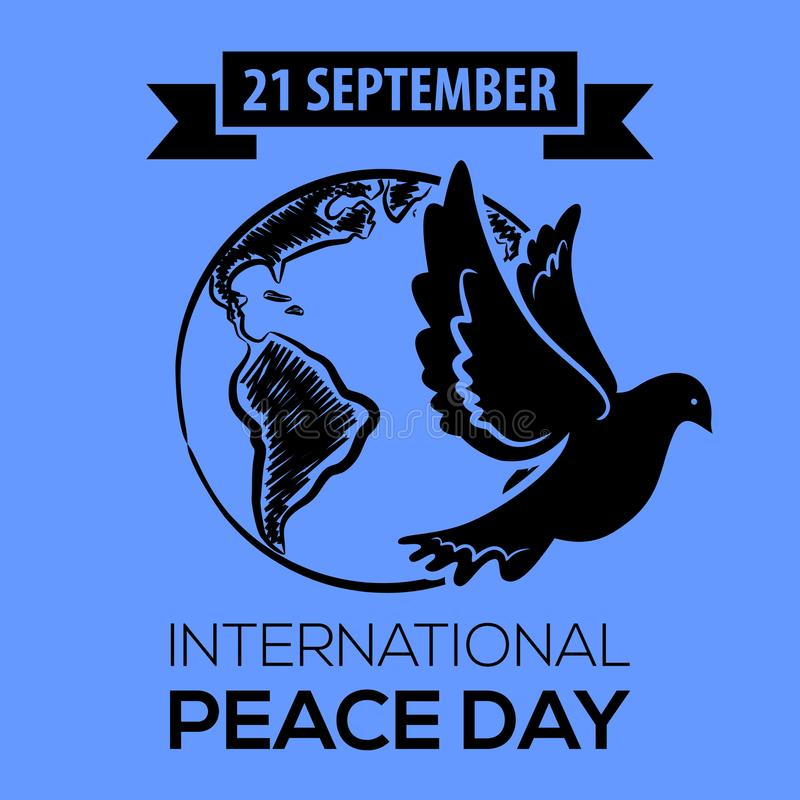 fred för international för dagduvajordklot Hälsningkort, emblem eller baner stock illustrationer