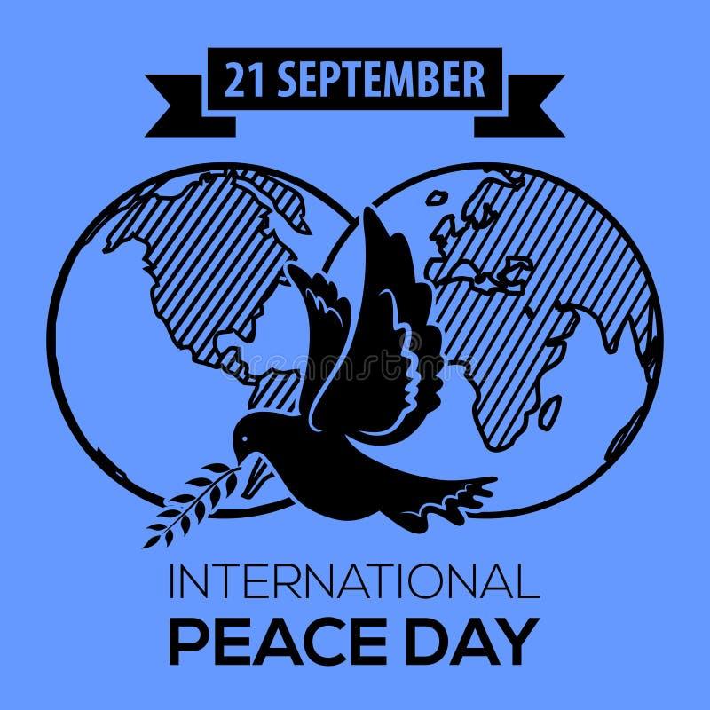 fred för international för dagduvajordklot Hälsningkort, emblem eller baner royaltyfri illustrationer