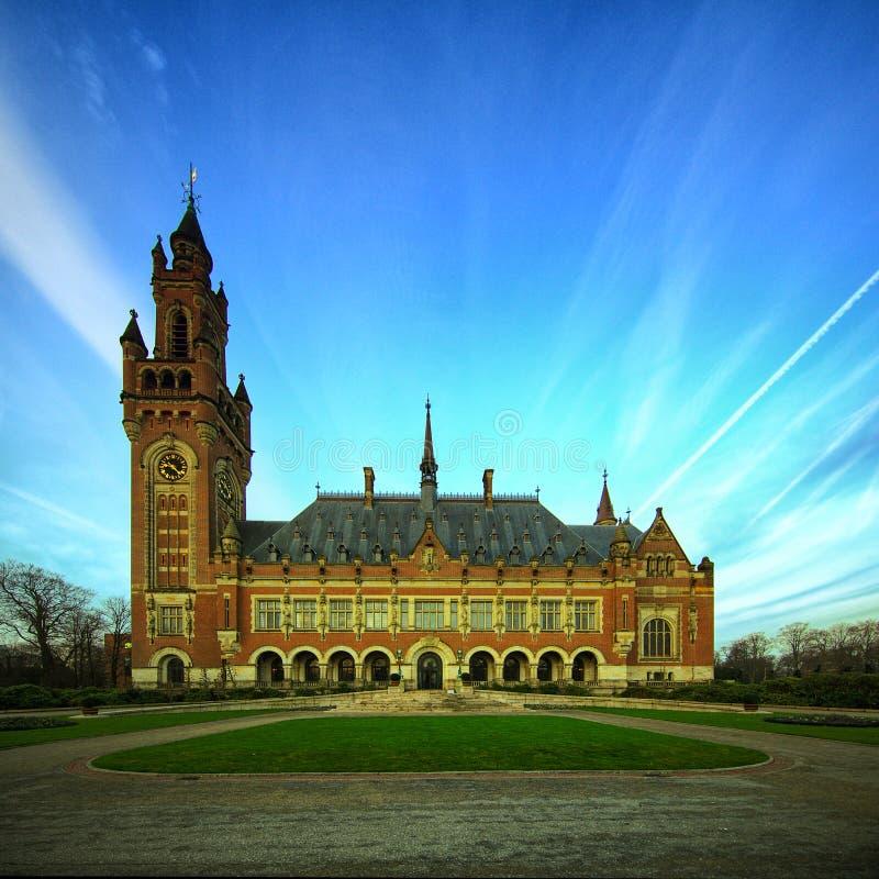 fred för slott för domstolhague internationell rättvisa fotografering för bildbyråer