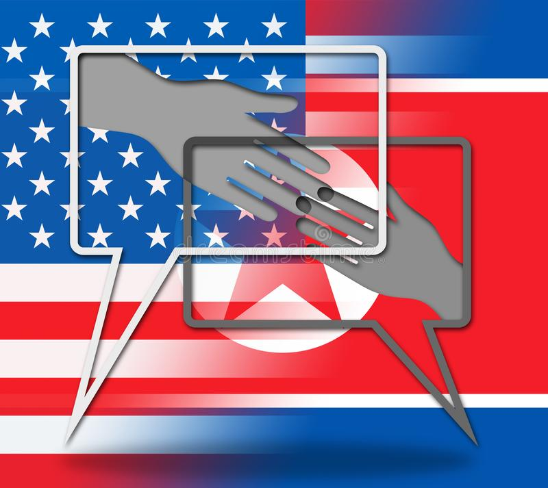 Fred för USA som Nordkorea skakar illustrationen för händer 3d royaltyfri illustrationer