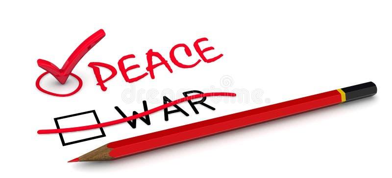 Fred men inte krigar royaltyfri illustrationer