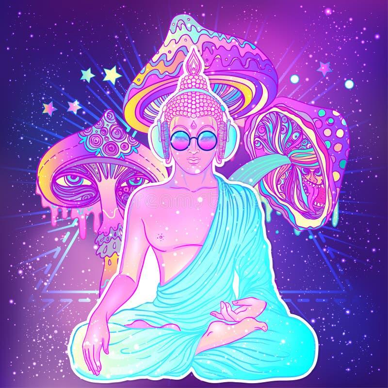fred och förälskelse Färgrik Buddha i regnbågeexponeringsglas som lyssnar till royaltyfri illustrationer
