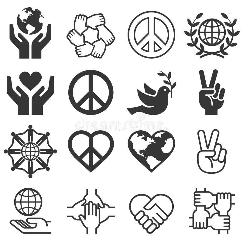 Fred- och förälskelsesymbolsymboler Vektorllustrations vektor illustrationer