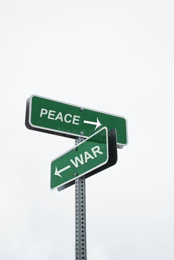 Fred- och krigbegreppstecken royaltyfria foton