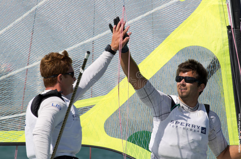 Fred Strammer & Zach Brown after winning first place in the 49er class at the 2013 ISAF World Sailing Cup in Miami royalty free stock image