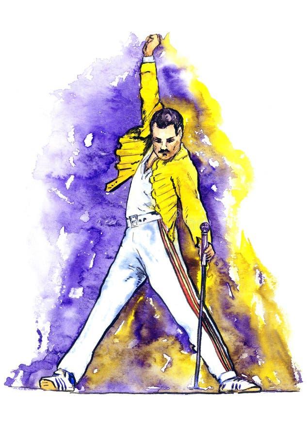 Freddie Mercury na fase fotografia de stock royalty free