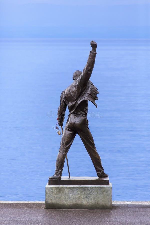 Freddie Murcury雕象- Montreux -瑞士 免版税图库摄影