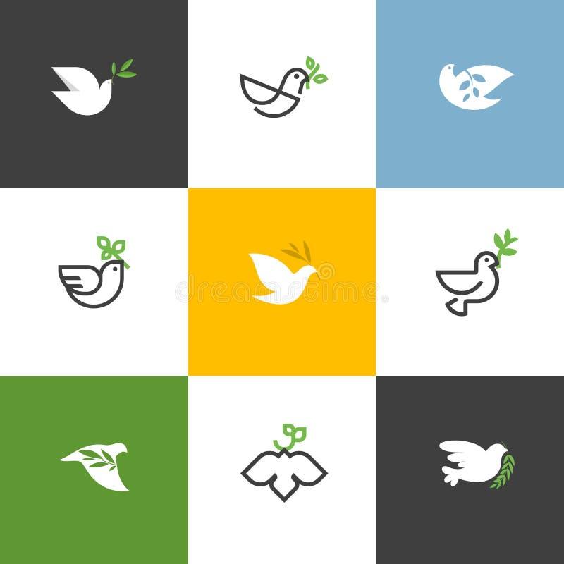 Fredduva med den gröna filialen Plan linje designstilvektor vektor illustrationer