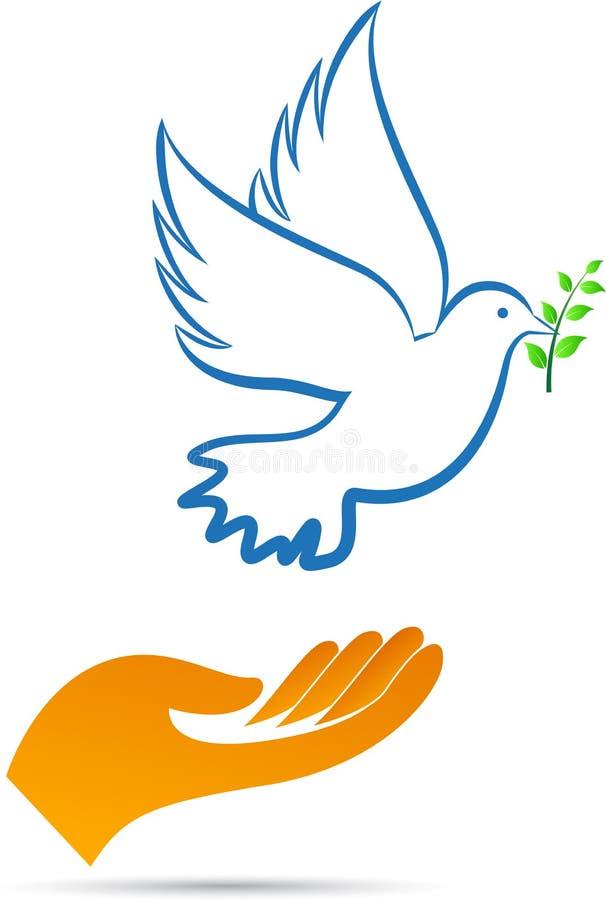 Fredduva med handen stock illustrationer