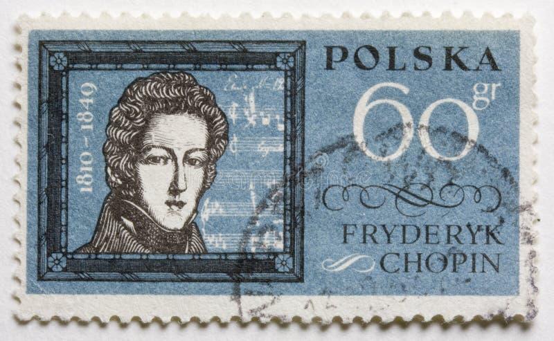 Frederic Chopin sur une estampille de poteau image libre de droits