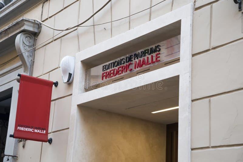 Frederic Malle Perfumes και σημάδι Colognes για το κατάστημα στοκ εικόνα με δικαίωμα ελεύθερης χρήσης