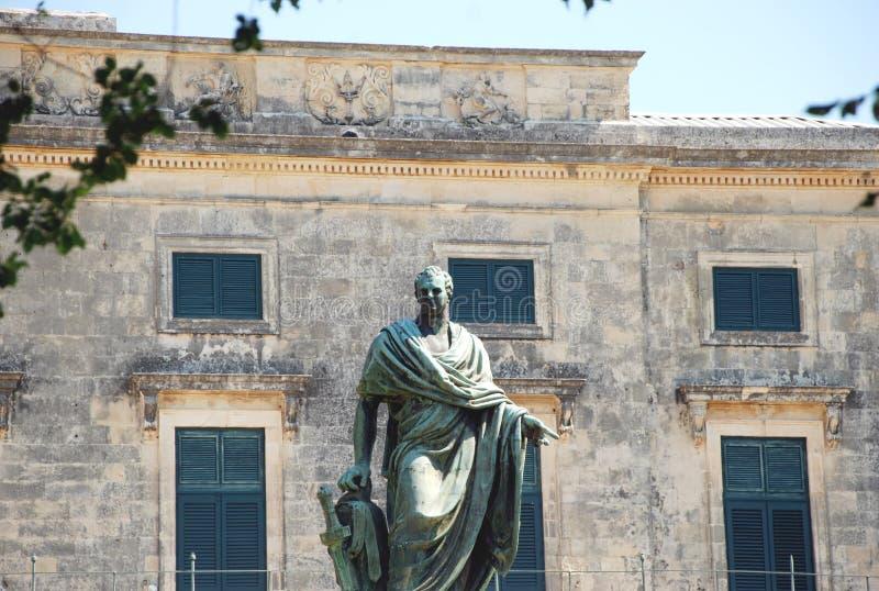 Frederick Adam statua blisko pałac święty Michael i George, Kerkyra, Corfu wyspa, Grecja zdjęcia stock