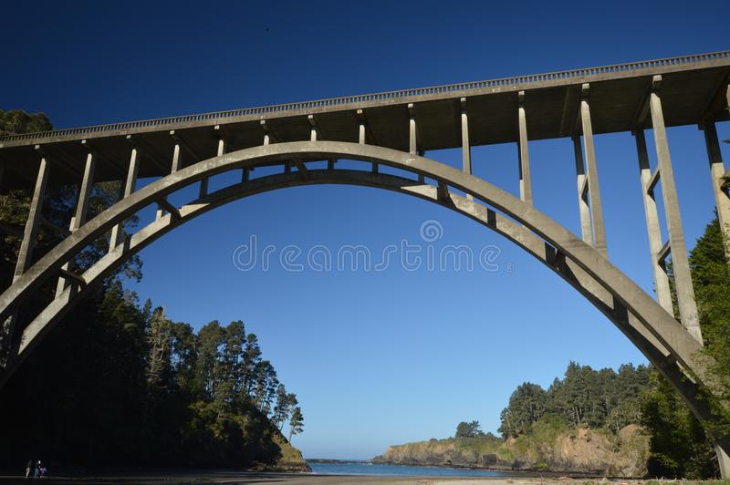 Fredericken W Panhorst bro som mer gemensam är bekant som den ryska bergsklyftabron i Mendocino County, Kalifornien USA royaltyfri fotografi