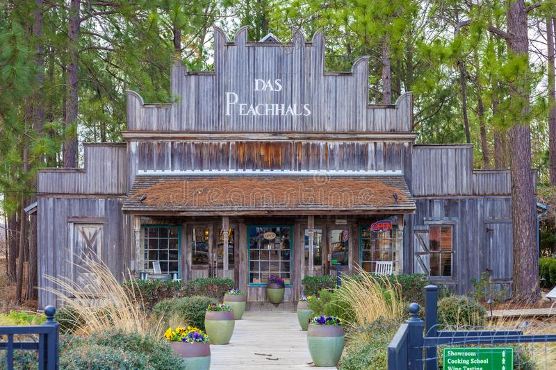 FREDERICKSBURG, TEXAS - JANUARY 11, 2018 - Das Peach Haus country store. The store is a favorite destination that includes wine stock photography