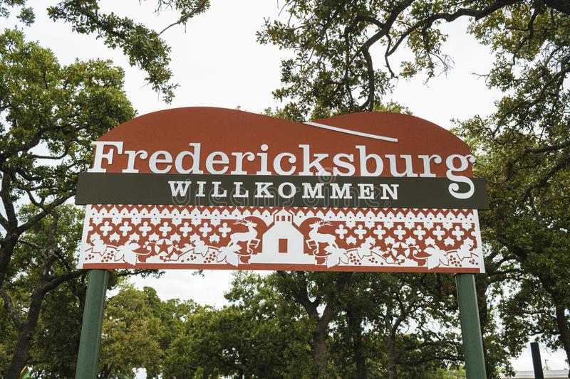 Fredericksburg Welcome Sign. Fredericksburg, Texas USA - October 28, 2019: Welcome sign to this small german influenced Texas Hill Country town stock photo
