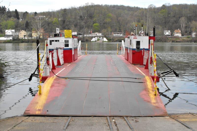 Fredericktown Ferry No. 1. A ferry in Fredericktown, Pennsylvania used to take cars across the Monongahela River stock photos