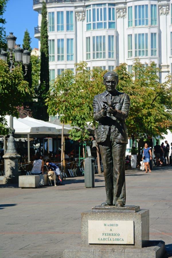 Frederico加西亚洛尔卡雕象在马德里 免版税库存图片