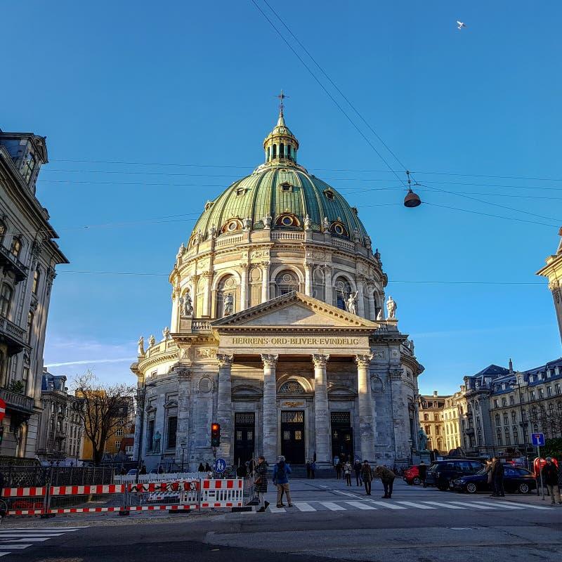 Frederik Church, γνωστή ως μαρμάρινη εκκλησία για τη στυλ ροκοκό αρχιτεκτονική του, εβαγγελική λουθηρανική εκκλησία στην Κοπεγχάγ στοκ εικόνα