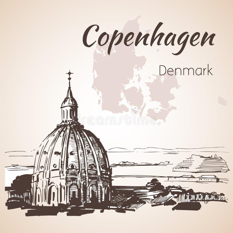 Frederik's Church - Copenhagen. Denmark, Sketch, hand drawn vector illustration