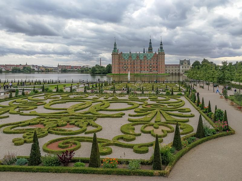 Frederiksborg Castle with a large formal garden in the Baroque style in Hillerød, Denmark. The largest Renaissance residence in Scandinavia stock images