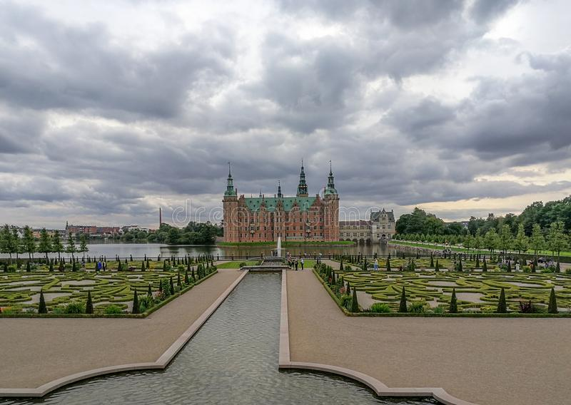 Frederiksborg Castle with a large formal garden in the Baroque style in Hillerød, Denmark. The largest Renaissance residence in Scandinavia royalty free stock image