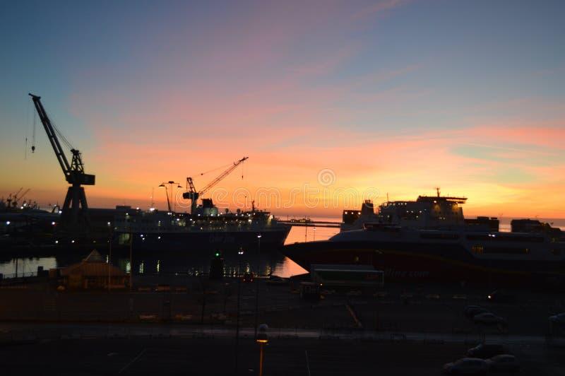 Frederikshavn在丹麦在晚上 库存照片