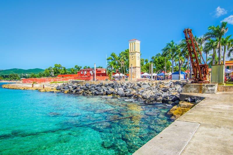 Frederiksted, porto di St Croix, Isole Vergini, i Caraibi immagine stock