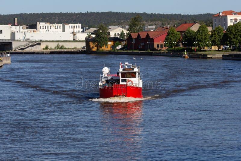 Fredrikstad / Norway - 17 june 2019: Passenger ferry on river Glomma. Passenger ferry on river Glomma stock image