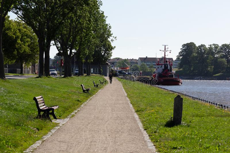 Fredrikstad / Norway - 17 june 2019 : Promenade along river Glomma. Promenade along river Glomma Norway stock photos