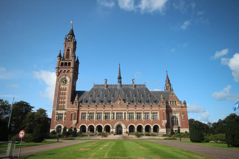 Fredslott i Haag, hem av den United Nations internationella domstolen och den permanenta domstolen av skiljedom i arkivfoton