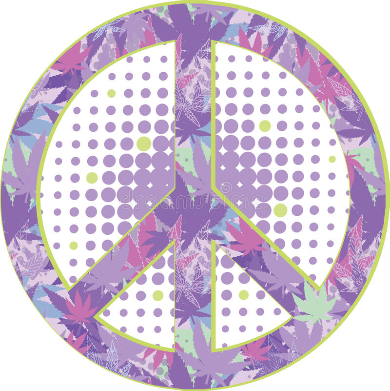 Fredsymbol med textur av cannabis royaltyfri illustrationer