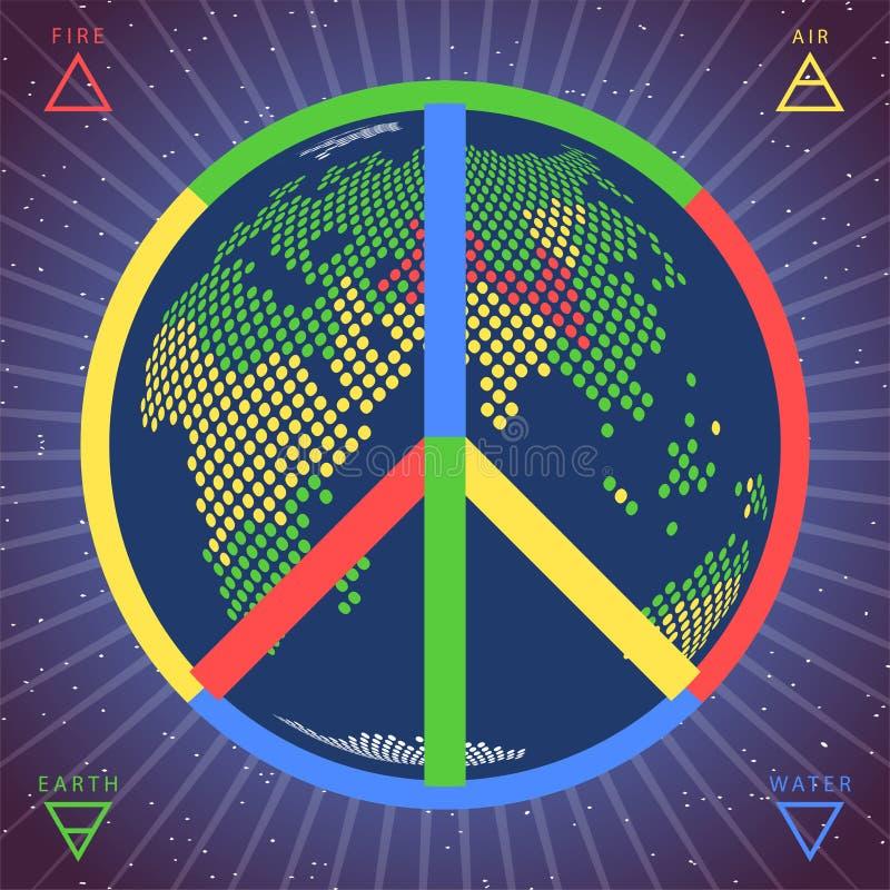 Fredvektorsymbol med jordjordklotet inom p? genomskinlig bakgrund stock illustrationer