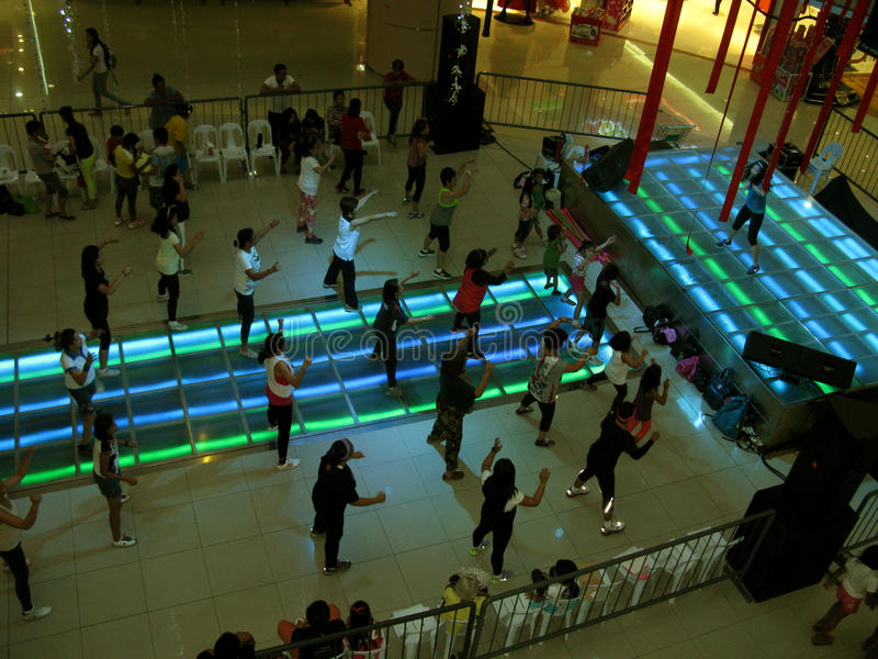 Free Aerobic Exercise Lessons at Fisher Mall, Quezon City, Philippines. Free Aerobic Exercise Dance Lessons at Fisher Mall, Quezon City, Philippines royalty free stock image