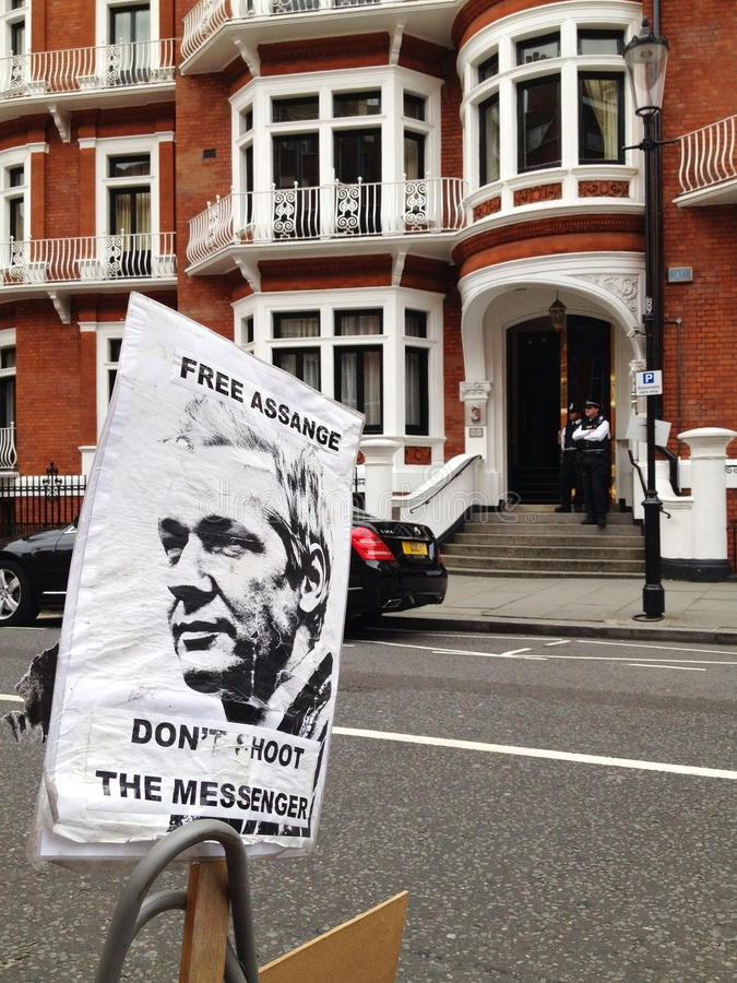 Free Assange sign. In front of the Ecuadorian embassy in London royalty free stock image