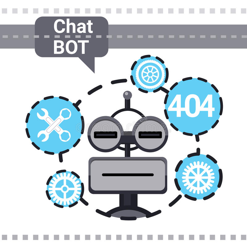 Free Chat Bot Fixing Error, Robot Virtual Assistance Element Of Website Or Mobile Applications, Artificial Intelligence. Concept Vector Illustration stock illustration