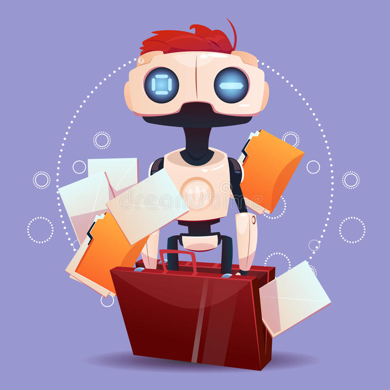 Free Chat Bot, Robot Virtual Assistance Element Of Website Or Mobile Applications, Artificial Intelligence Concept. Flat Vector Illustration stock illustration